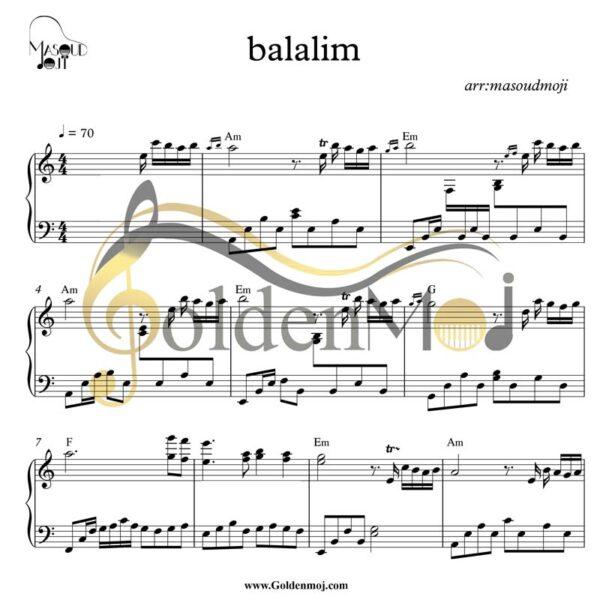 نت متوسط پیانو Belalım از Mahsun Kırmızıgül