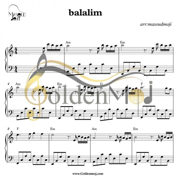 نت ساده پیانو Belalım از Mahsun Kırmızıgül