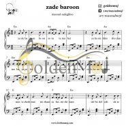 نت پیانو زده بارون از مسعود صادقلو